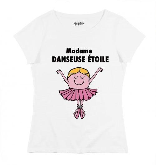 T-shirt pour Femme Madame Danseuse Etoile de couleur Blanc