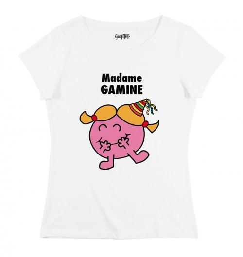 T-shirt pour Femme Madame Gamine de couleur Blanc