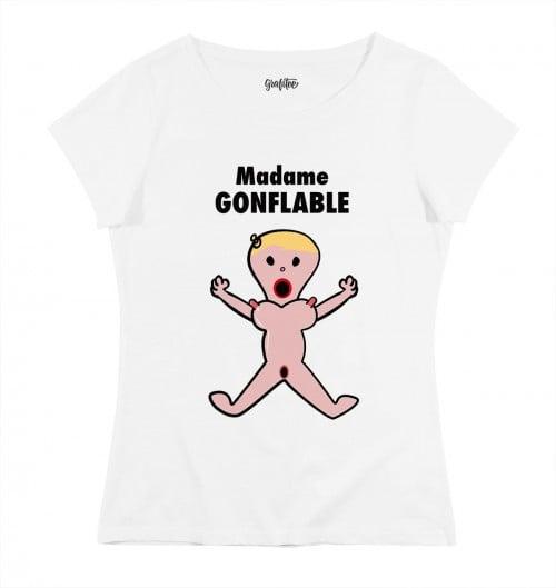 T-shirt pour Femme Madame Gonflable de couleur Blanc