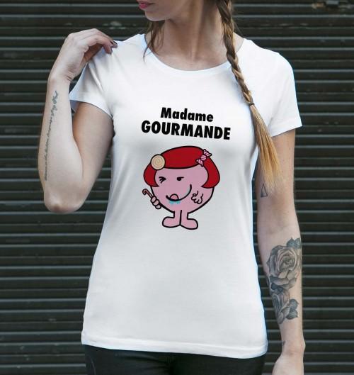 T-shirt pour Femme Madame Gourmande de couleur Blanc