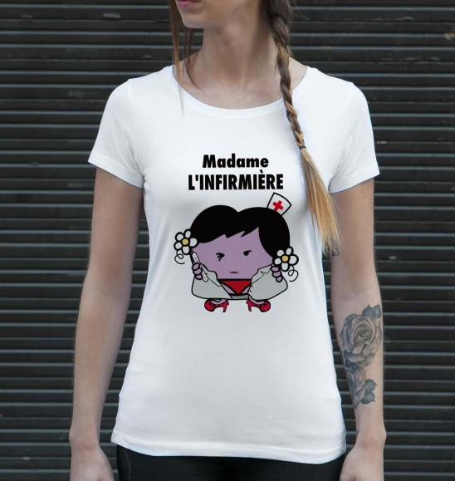 T-shirt pour Femme Madame L'Infirmière de couleur Blanc