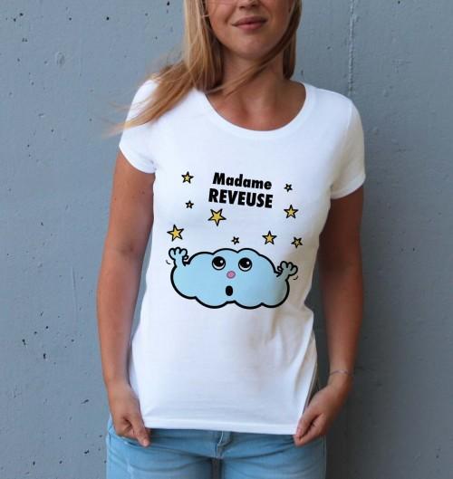 T-shirt pour Femme Madame Rêveuse de couleur Blanc