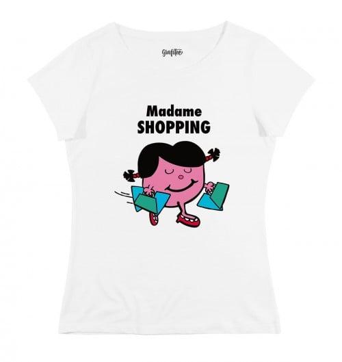 T-shirt pour Femme Madame Shopping de couleur Blanc