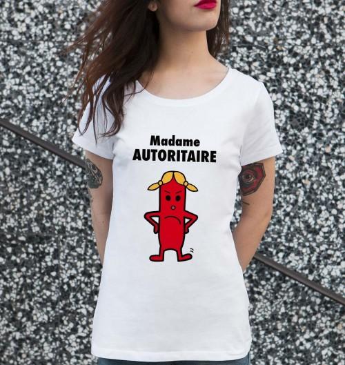 T-shirt pour Femme Madame Autoritaire de couleur Blanc
