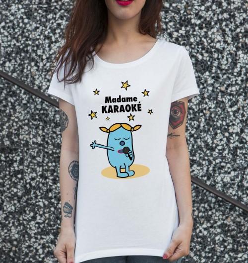 T-shirt pour Femme Madame Karaoké de couleur Blanc