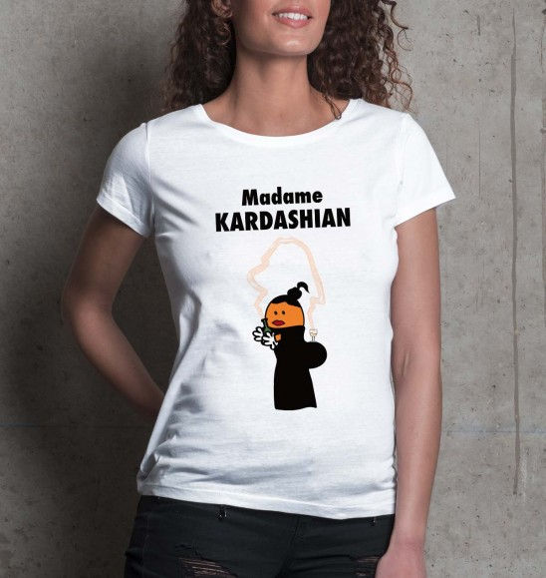 T-shirt pour Femme Madame Kardashian de couleur Blanc