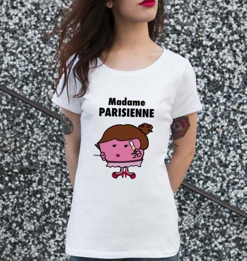 T-shirt pour Femme Madame La Parisienne de couleur Blanc