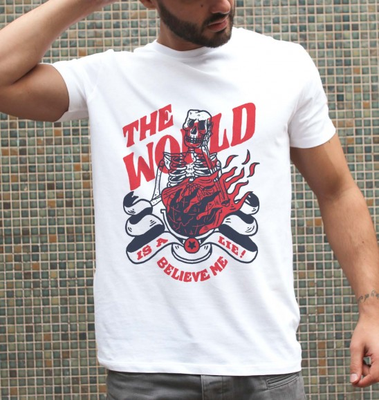 T-shirt pour Homme The World Is A Lie de couleur Blanc