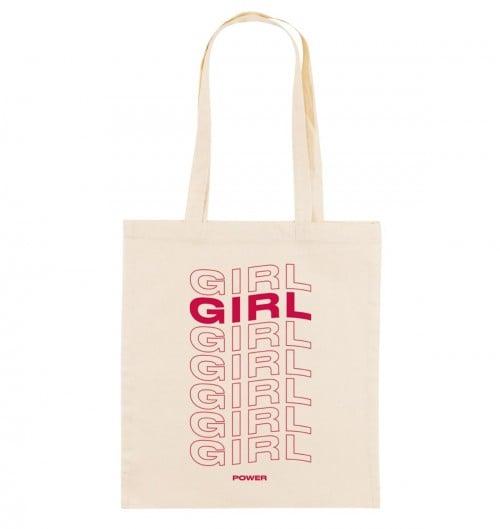 Tote Bag pour Femme Girl Girl Girl Power de couleur Crème
