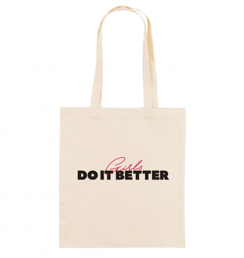 Tote Bag pour Femme Girls Do It Better de couleur Crème
