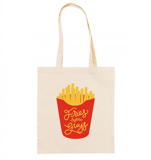 Tote Bag pour Femme Fries Before Guys de couleur Crème