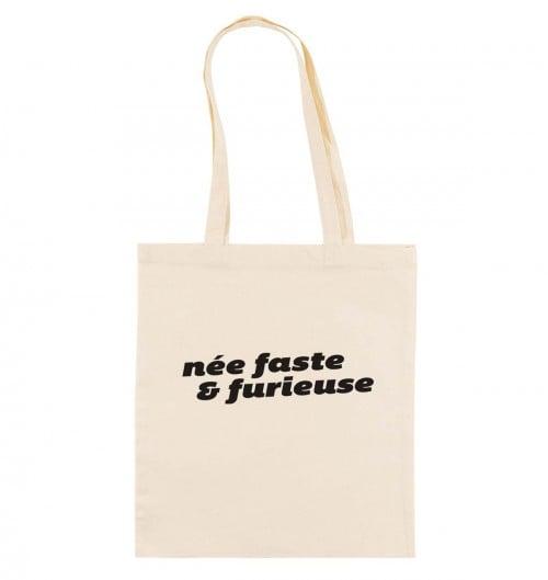 Tote Bag pour Femme Née Faste & Furieuse de couleur Crème