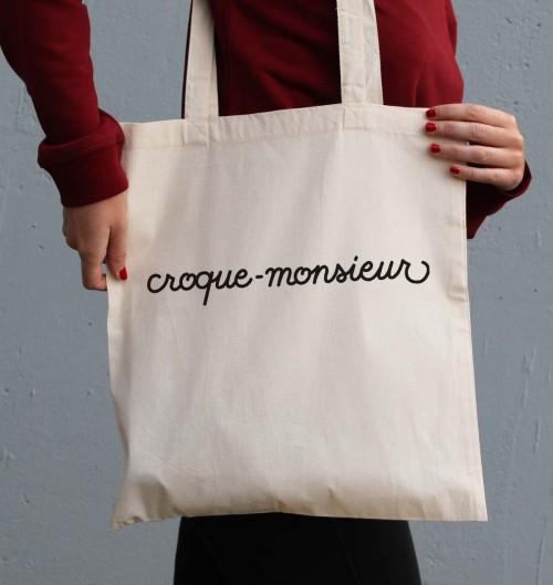 Tote Bag pour Femme Croque-Monsieur de couleur Crème
