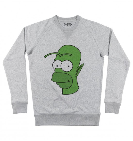 Sweat pour Homme Homer vs Piccolo de couleur Gris chiné