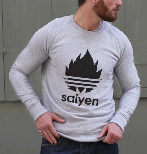 Sweat pour Homme Dragon Ball Adidas de couleur Gris chiné