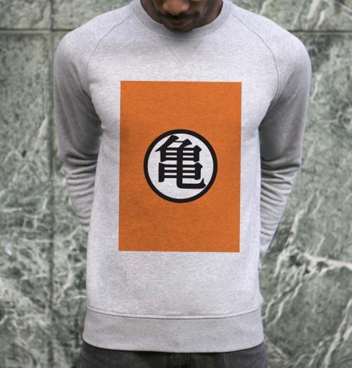 Sweat pour Homme Logo Kamé Sennin de couleur Gris chiné