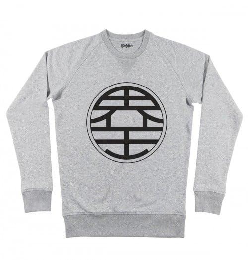 Sweat pour Homme Kanji Kaio de couleur Gris chiné