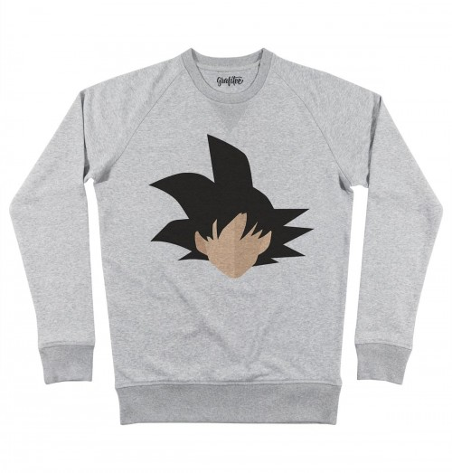 Sweat pour Homme Abstract Son Goku de couleur Gris chiné