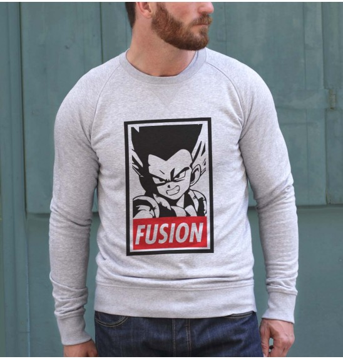 Sweat pour Homme Gotenks Fusion de couleur Gris chiné