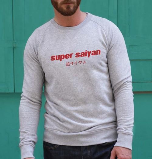 Sweat pour Homme Super Saiyan de couleur Gris chiné