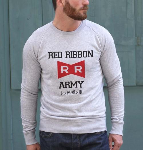 Sweat pour Homme Red Ribbon Army de couleur Gris chiné