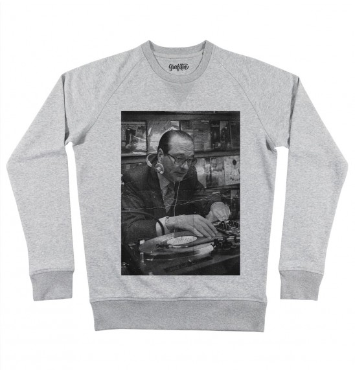 Sweat pour Homme Chirac DJ de couleur Gris chiné