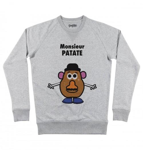 Sweat pour Homme Monsieur Patate de couleur Gris chiné