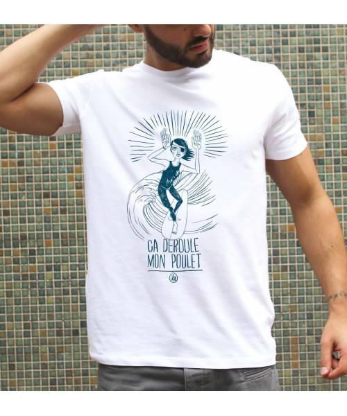 T-shirt pour Homme Déroule mon poulet de couleur Blanc