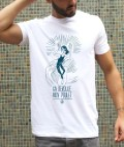 T-shirt à col rond Déroule mon poulet par Coontak