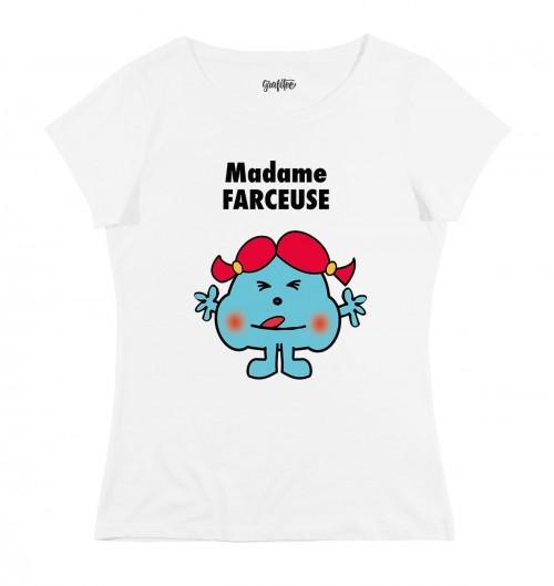 T-shirt pour Femme Madame Farceuse de couleur Blanc
