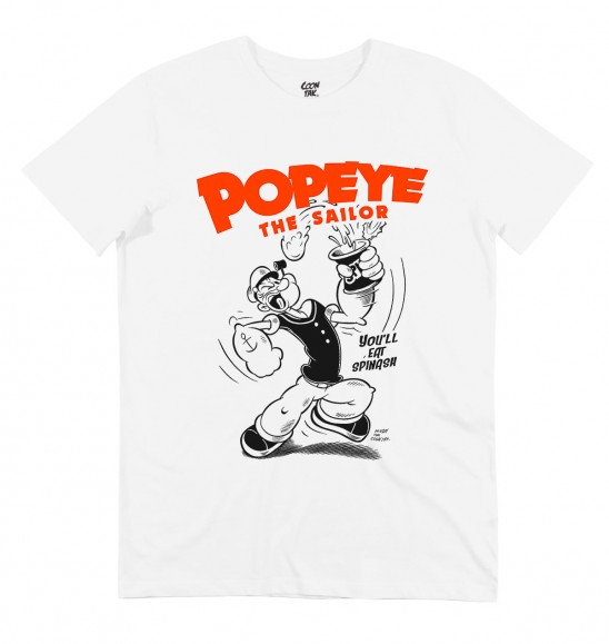 T-shirt pour Homme Popeye The Sailor de couleur Blanc