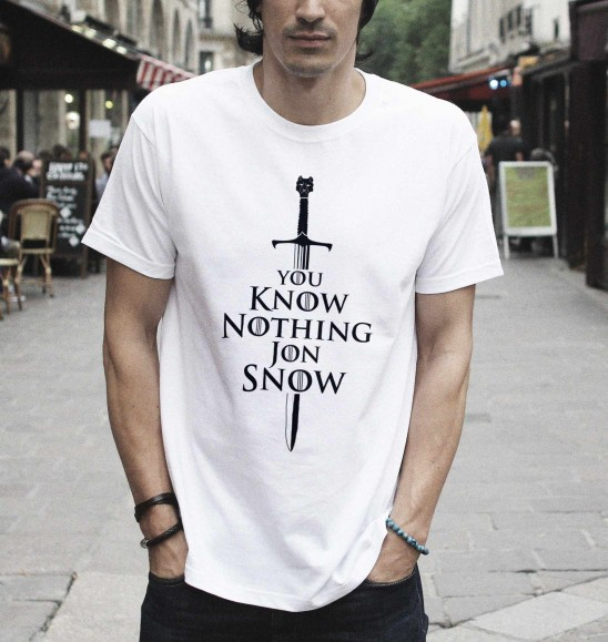 T-shirt pour Homme You Know Nothing de couleur Blanc