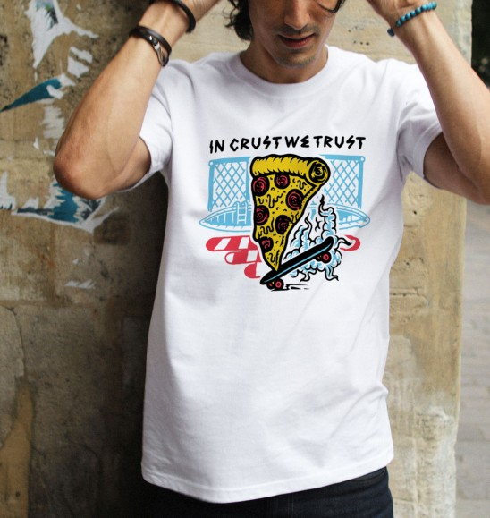 T-shirt pour Homme In crust we trust de couleur Blanc