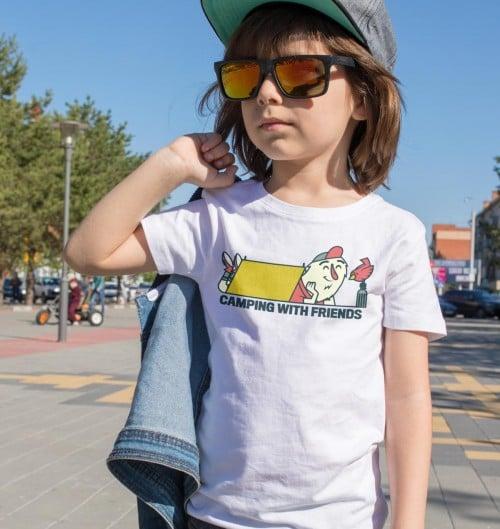 T-shirt pour Enfants Camping (enfant) de couleur Blanc