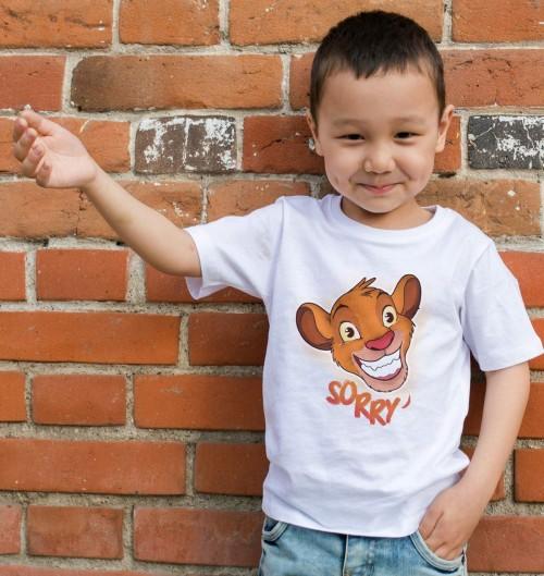 T-shirt pour Enfants Simba Sorry de couleur Blanc