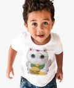 T-shirt pour Enfants Fat Neko de couleur Blanc