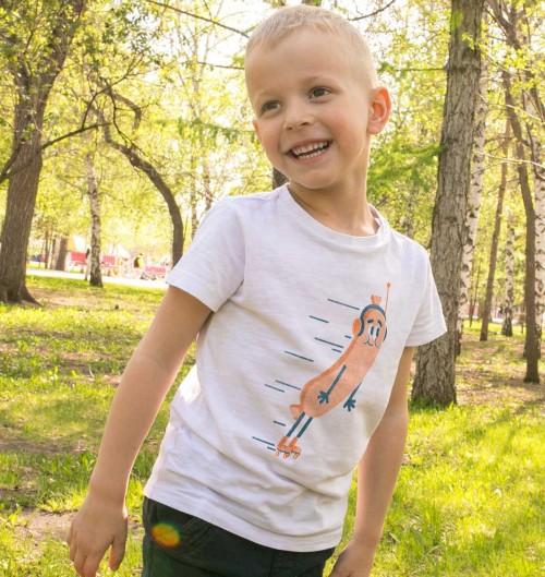 T-shirt pour Enfants Saucisse Roulettes de couleur Blanc