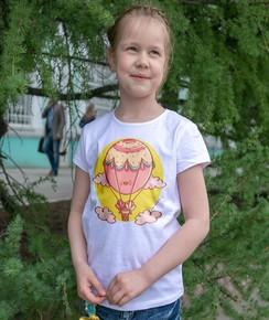 T-shirt pour Enfants Montgolfière de couleur Blanc