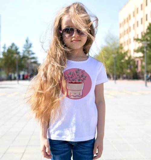 T-shirt pour Enfants Pot de fleurs de couleur Blanc