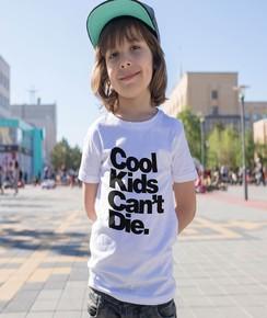 T-shirt pour Enfants Cool Kids Can't Die de couleur Blanc