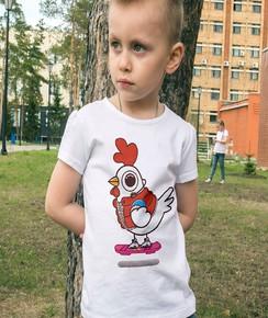 T-shirt pour Enfants Chicken McFly (enfant) de couleur Blanc