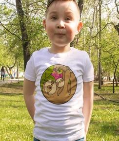 T-shirt pour Enfants Bras du paresseux de couleur Blanc