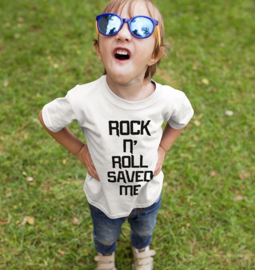 T-shirt pour Enfants Rock n' roll saved me de couleur Blanc
