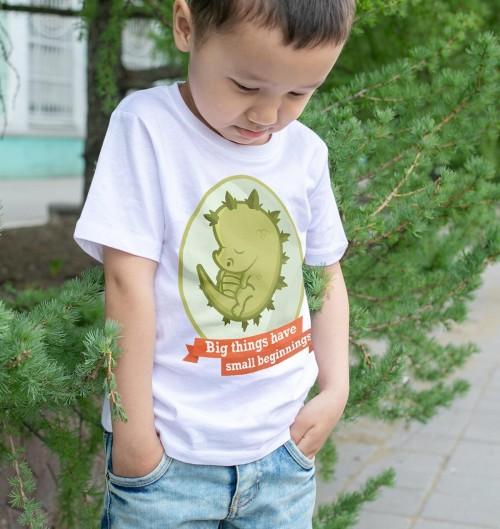 T-shirt pour Enfants Eggzilla de couleur Blanc