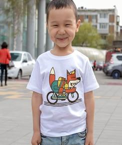 T-shirt pour Enfants Rolling Fox (enfant) de couleur Blanc