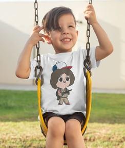 T-shirt pour Enfants Dustin (Halloween) de couleur Blanc
