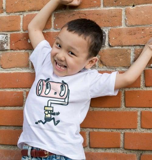 T-shirt pour Enfants Rouleau à peinture de couleur Blanc