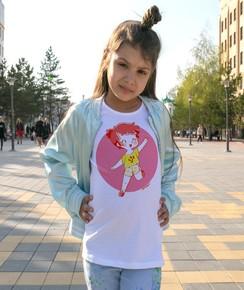 T-shirt pour Enfants Fillette heureuse de couleur Blanc