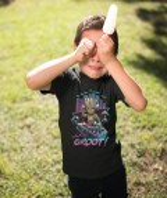 T-shirt pour Enfants Dj Groot de couleur Noir