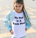 T-shirt pour Enfants My dad is a rock star de couleur Blanc